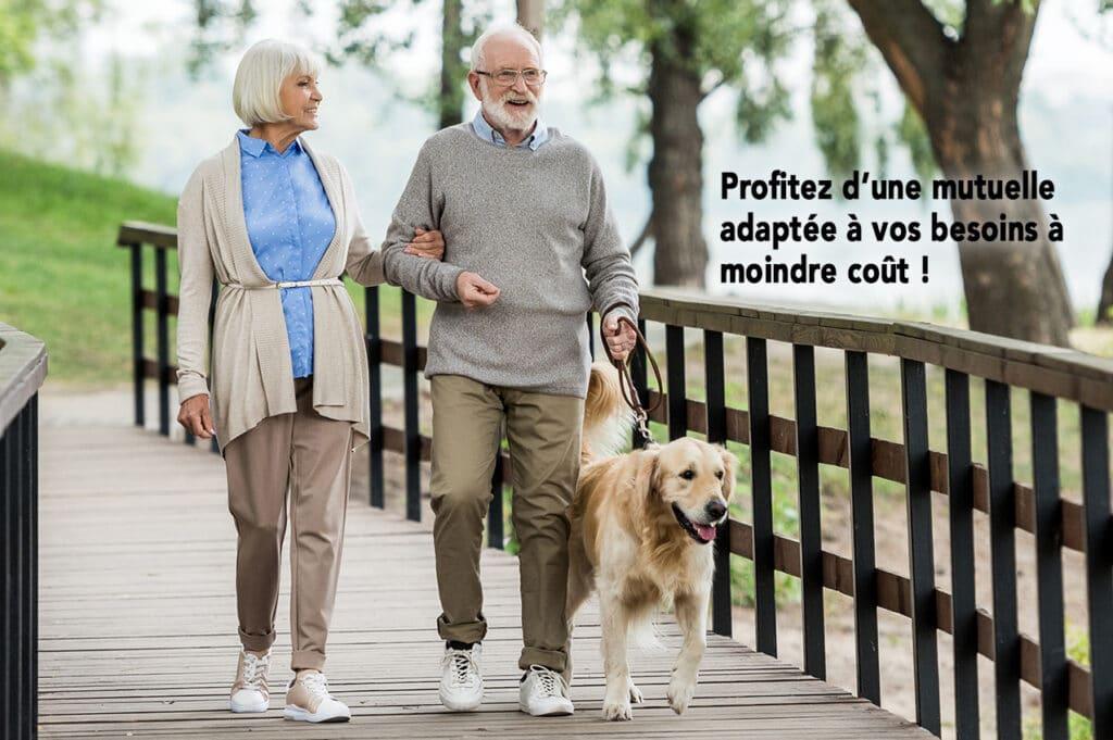Couple de Senior avec un chien en promenade